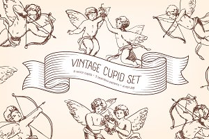 Vintage cupids with arrows and bow