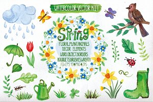 Watercolor spring big set.Vector