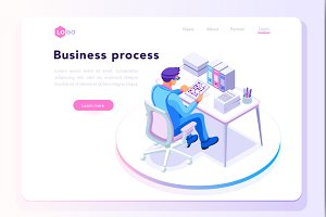 Office workplace for web page banner