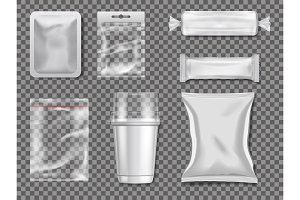 Empty plastic and transparency packages. Vector mockup pictures
