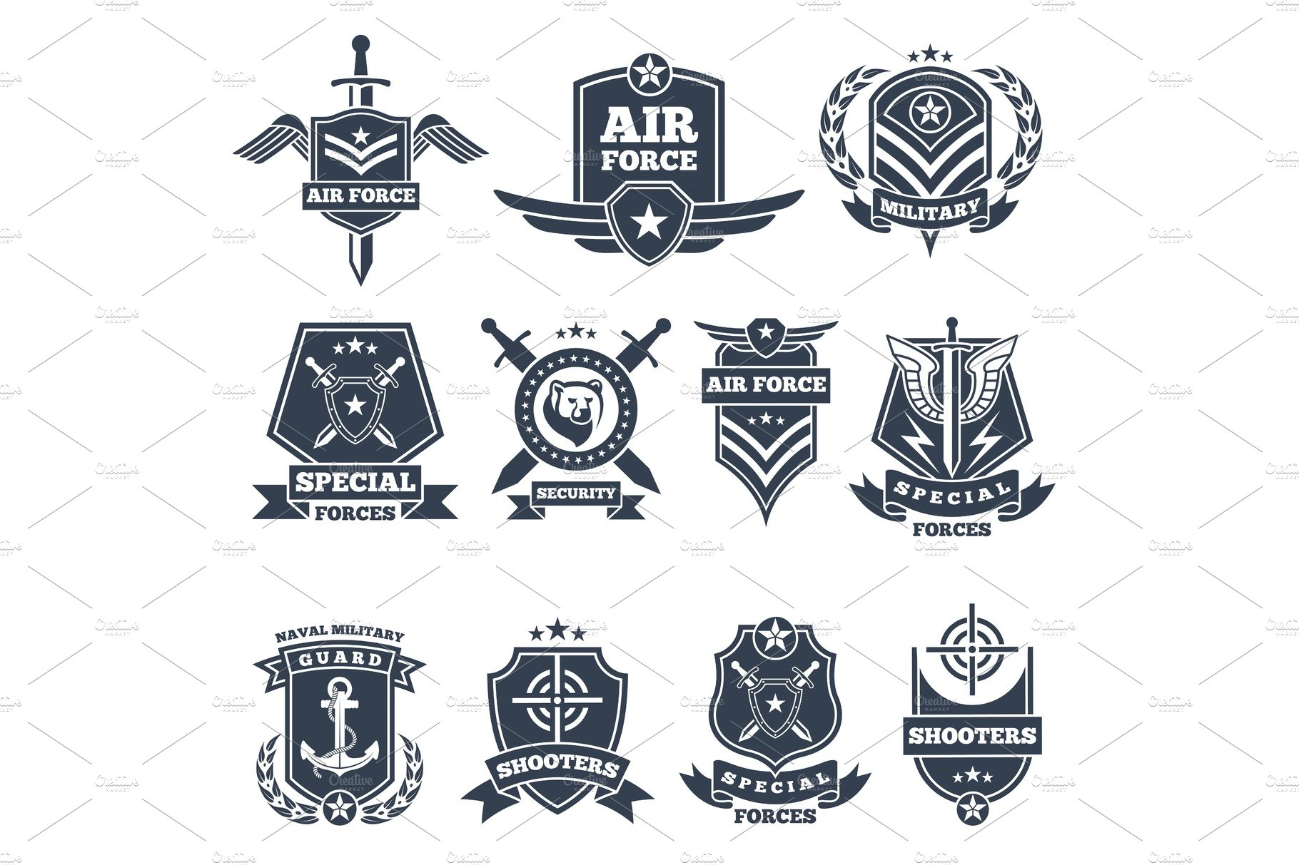 Military Logos And Badges Army Symbols Isolated On White Background