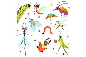 Set of funny cartoon insects isolate on white