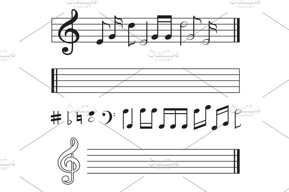 Vector Monochrome Collection Of Music Notes Pictures Isolate On White