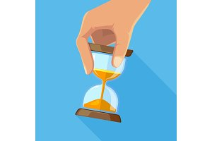Business concept picture of hourglasses in hand