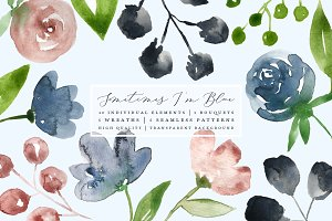 I'm Blue Watercolor Flowers Clip Art