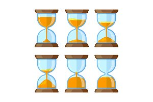 Key frames of hourglasses isolate on white background. Vector pictures for animation