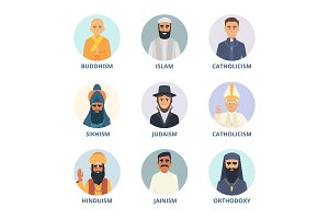 Round avatars set with pictures of religion leaders