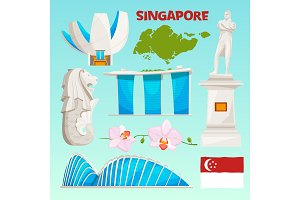 Landmarks icons set of singapore. Cartoon cultural objects isolate on white