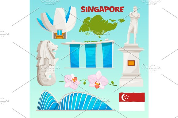 Landmarks Icons Set Of Singapore Cartoon Cultural Objects Isolate On White