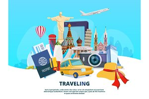 Travel background illustration of different world landmarks