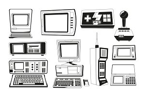 Monochrome illustrations of technician gadgets
