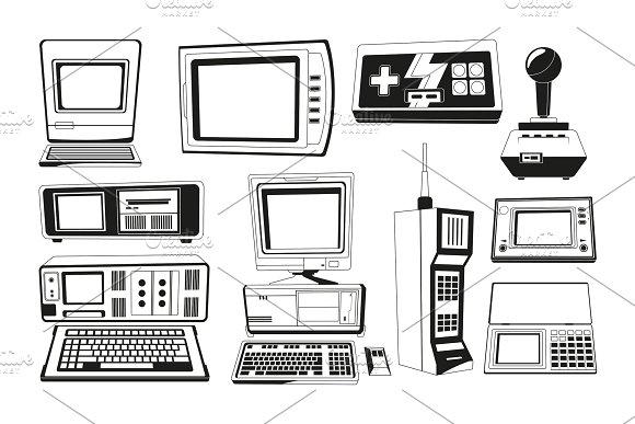 Monochrome Illustrations Of Technician Gadgets