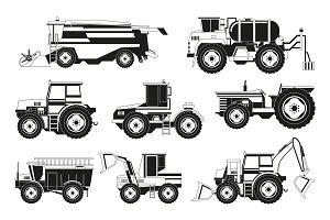 Monochrome pictures of agricultural machinery
