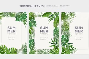 Tropical leaves - banners, backdrops