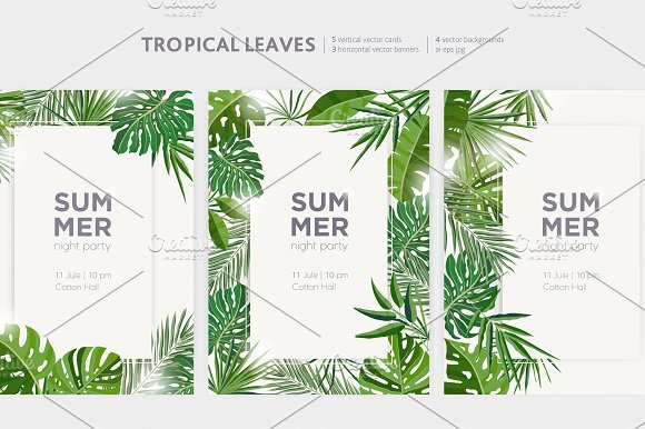 Tropical Leaves Banners Backdrops
