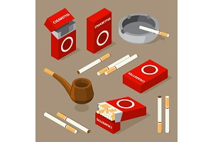 Vector isometric illustrations of cigarettes and various accessories for smokers
