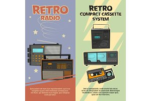 Vertical banners with illustrations of vintage recorders and radios
