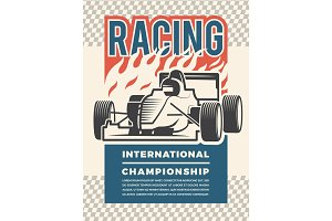 Poster or placard for motosport. Vintage illustrations of racing cars