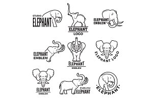 Stylized illustrations of elephants. Templates for logo design