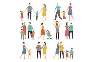 Mother father and childrens. Illustrations of happy family. Pictures of lifestyle