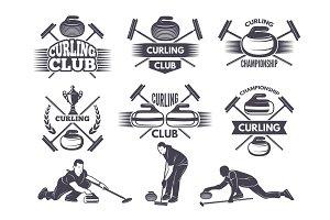 Labels for curling sport team