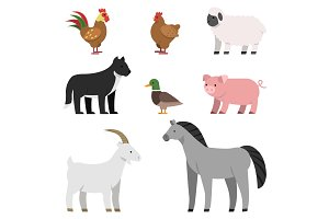 Flat illustrations of farm animals