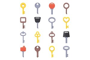 Flat illustrations of different type of keys