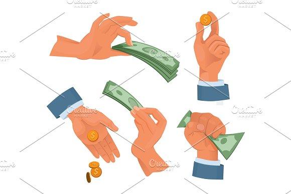 Hands Holding Money Set In Cartoon Style