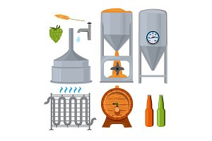 Equipment for the brewery. Pictures in cartoon style