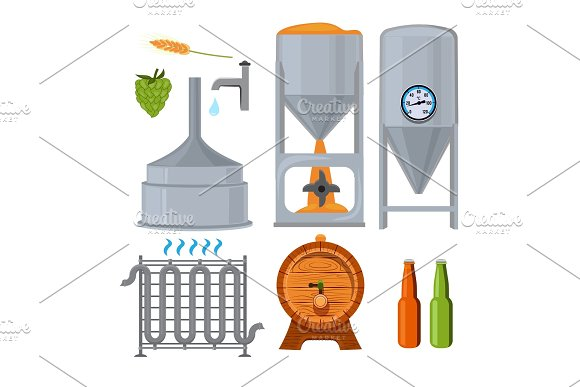 Equipment For The Brewery Pictures In Cartoon Style