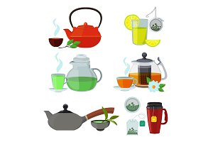 Illustrations of cups and kettles for different types of tea