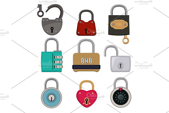 Vector Colored Icon Set Of Padlocks