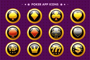 Casino and poker golden app icon, glossy objects for asset game