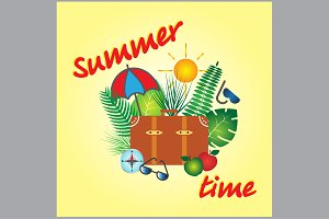 Summer time vector banner design