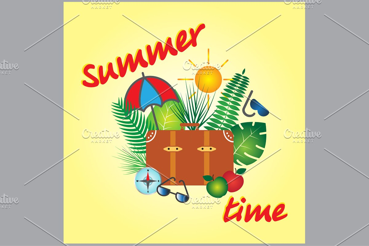 Summer time vector banner design  in Graphics - product preview 8
