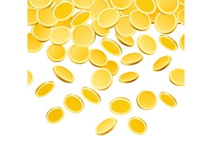 Falling golden coins isolated on white