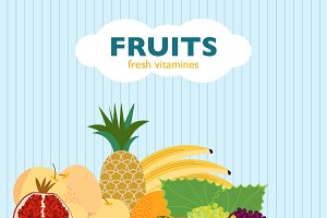 Colorful Flat Fruit Concept