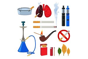 Tobacco, cigarette and different accessories for smokers