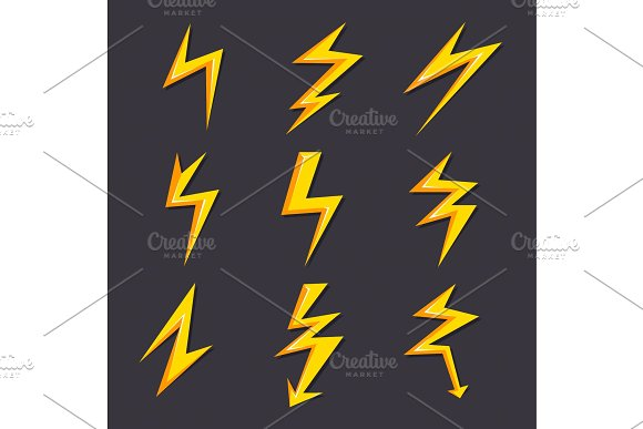Vector Cartoon Illustrations Of Lightning Set Isolate Stylized Pictures For Logo Design