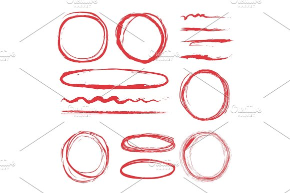 Lines and circles to highlight. Vector illustrations set