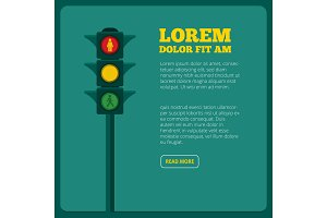 Background illustrations of traffic light and place for your text