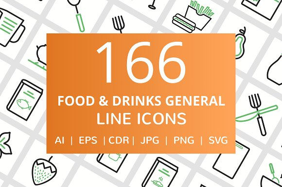 166 Food Drinks General Line Icons