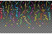 Streamers and confetti transparent background