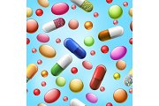 Seamless pills and tablets pattern