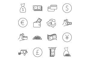 Simple Set of Money Vector icons