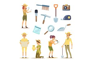 Archaeologists characters and various historical artifacts