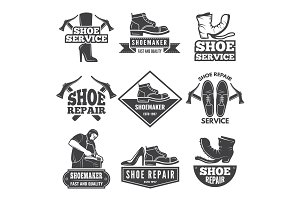 Vintage monochrome labels and logos for shoe repair workshop