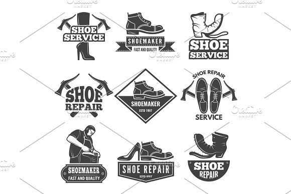 Vintage Monochrome Labels And Logos For Shoe Repair Workshop