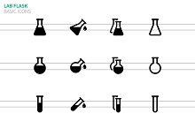Lab flask icons on white background