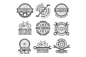 Labels and sport logos set with parts of bicycle